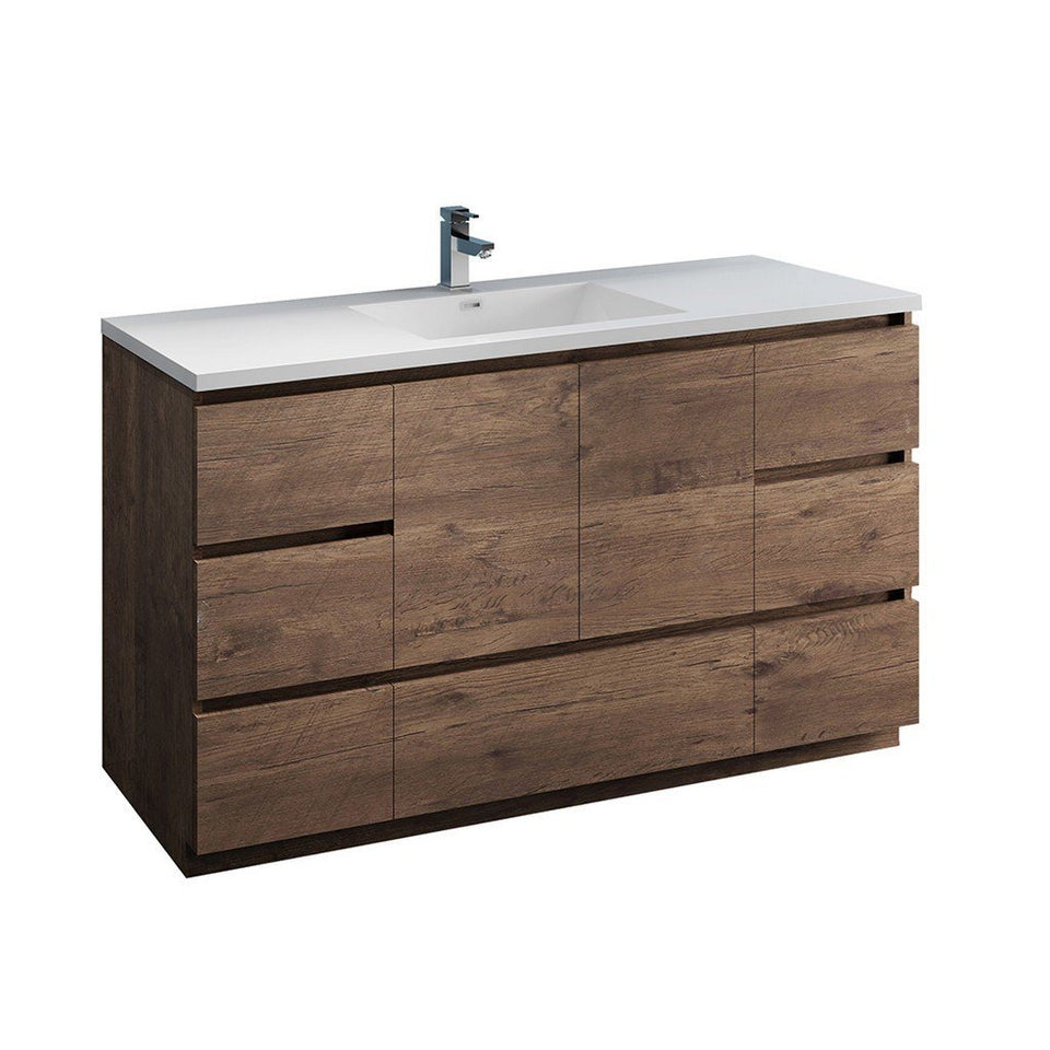 "Fresca Lazzaro 60"" Free Standing Modern Bathroom Cabinet with Integrated Single Sink Fresca 60 inch Single Vanity Rosewood"