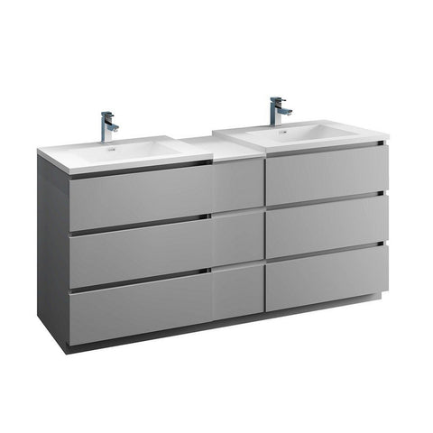 "Fresca Lazzaro 72"" Free Standing Double Sink Modern Bathroom Cabinet with Integrated Sinks Fresca 72 inch and larger Double Vanity Gray"