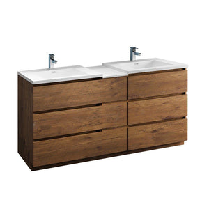 "Fresca Lazzaro 72"" Free Standing Double Sink Modern Bathroom Cabinet with Integrated Sinks Fresca 72 inch and larger Double Vanity Rosewood"