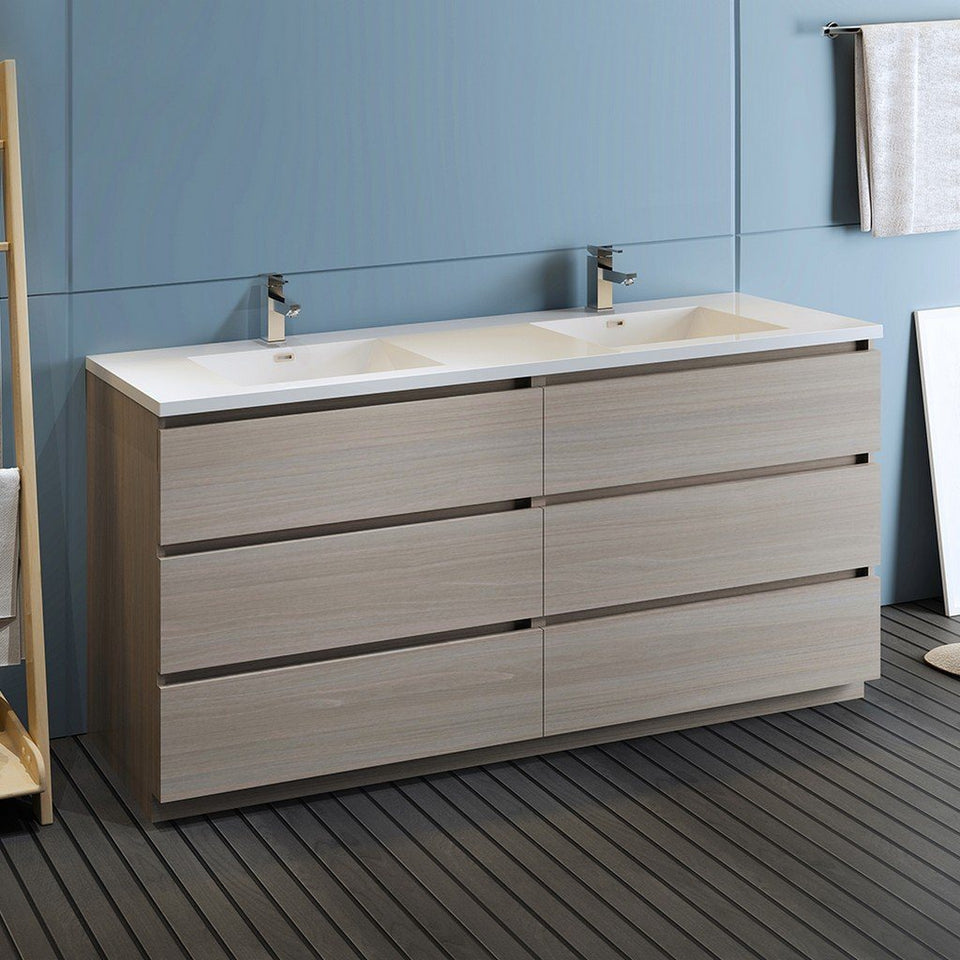 "Fresca Lazzaro 72"" Free Standing Modern Bathroom Cabinet with Integrated Double Sink Fresca 72 inch and larger Double Vanity"