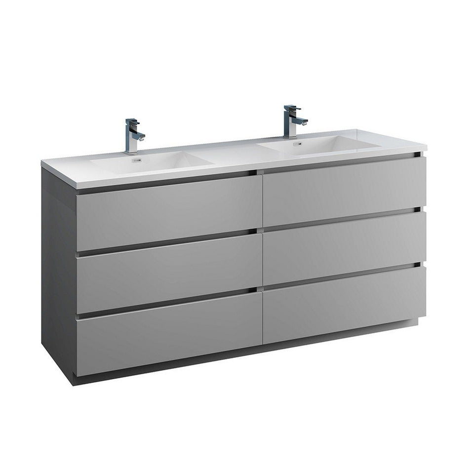 "Fresca Lazzaro 72"" Free Standing Modern Bathroom Cabinet with Integrated Double Sink Fresca 72 inch and larger Double Vanity Gray"