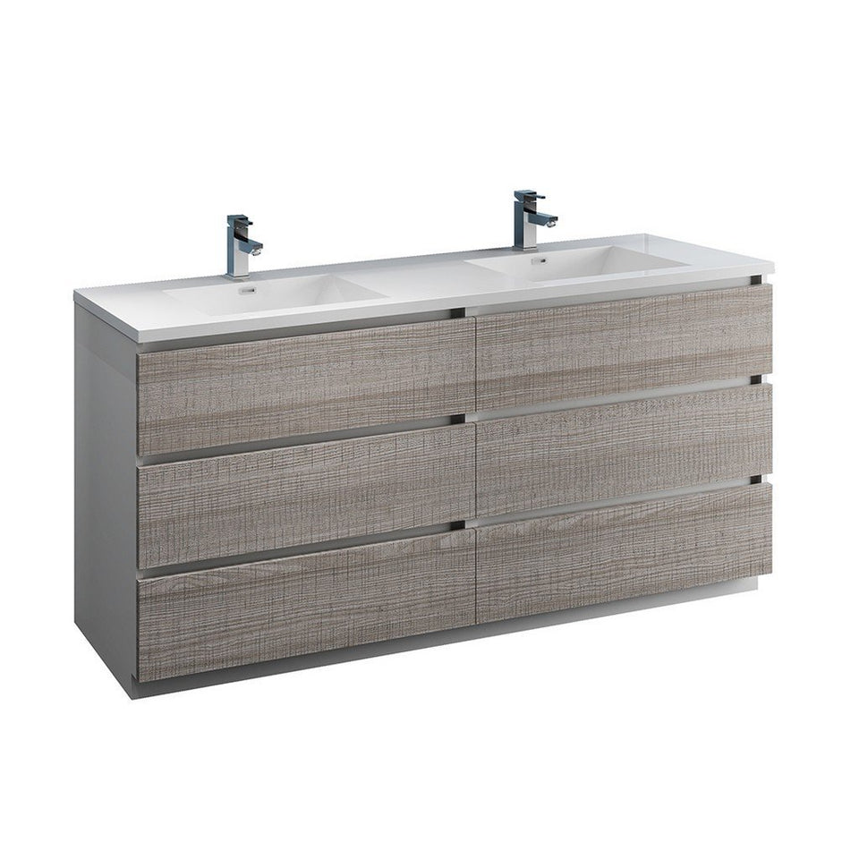 "Fresca Lazzaro 72"" Free Standing Modern Bathroom Cabinet with Integrated Double Sink Fresca 72 inch and larger Double Vanity Glossy Ash Gray"