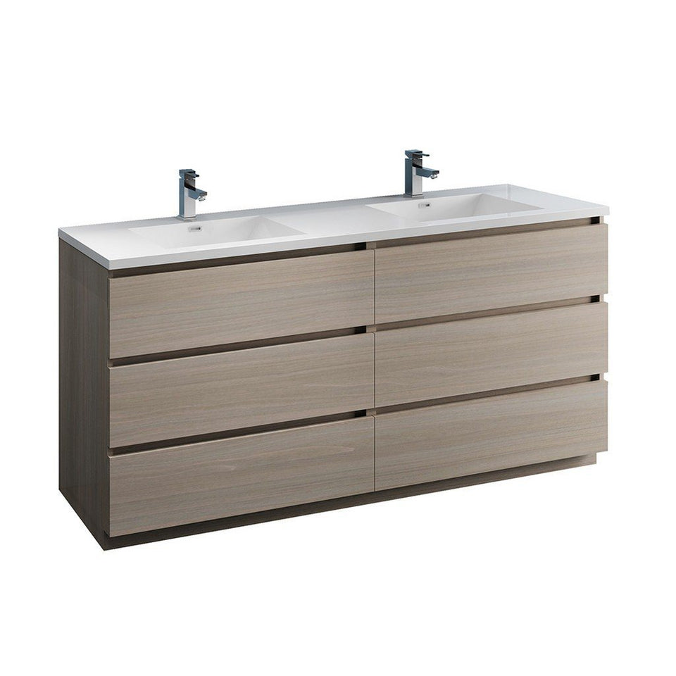 "Fresca Lazzaro 72"" Free Standing Modern Bathroom Cabinet with Integrated Double Sink Fresca 72 inch and larger Double Vanity Gray Wood"