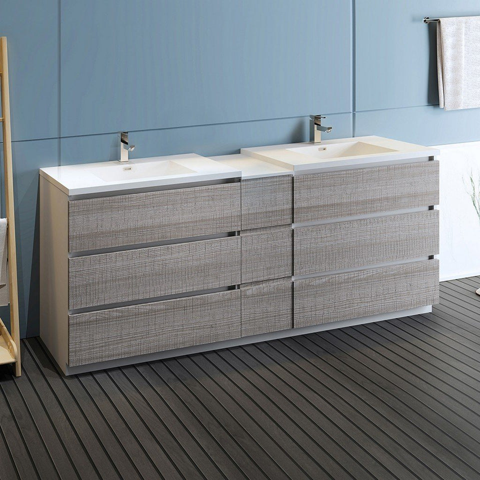 "Fresca Lazzaro 84"" Free Standing Double Sink Modern Bathroom Cabinet with Integrated Sinks Fresca 72 inch and larger Double Vanity"