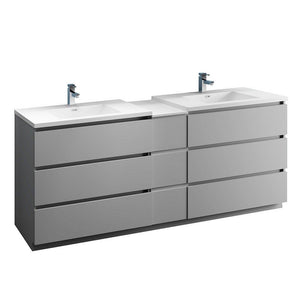 "Fresca Lazzaro 84"" Free Standing Double Sink Modern Bathroom Cabinet with Integrated Sinks Fresca 72 inch and larger Double Vanity Gray"