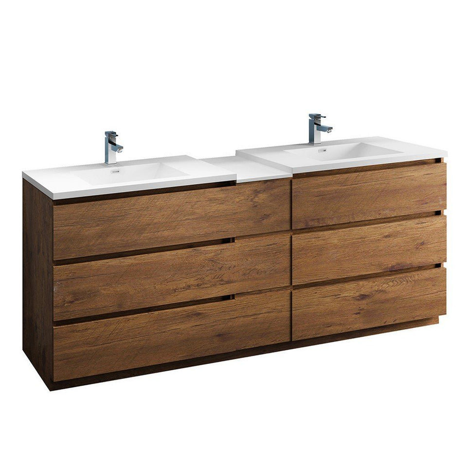 "Fresca Lazzaro 84"" Free Standing Double Sink Modern Bathroom Cabinet with Integrated Sinks Fresca 72 inch and larger Double Vanity Rosewood"