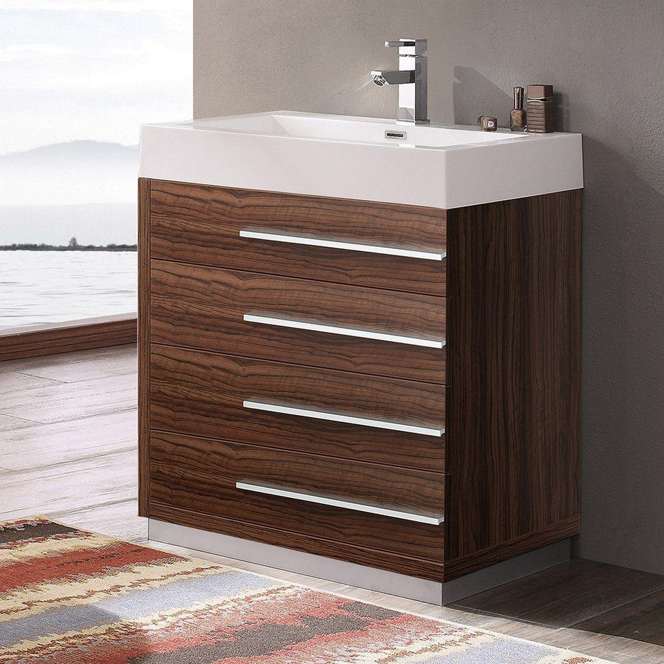 "Fresca Livello 30"" Modern Bathroom Cabinet with Integrated Sink Fresca 30 inch Single Vanity"