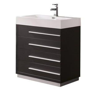 "Fresca Livello 30"" Modern Bathroom Cabinet with Integrated Sink Fresca 30 inch Single Vanity Black"