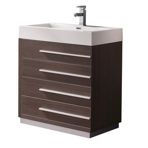 "Fresca Livello 30"" Modern Bathroom Cabinet with Integrated Sink Fresca 30 inch Single Vanity Gray Oak"