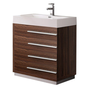 "Fresca Livello 30"" Modern Bathroom Cabinet with Integrated Sink Fresca 30 inch Single Vanity Walnut"