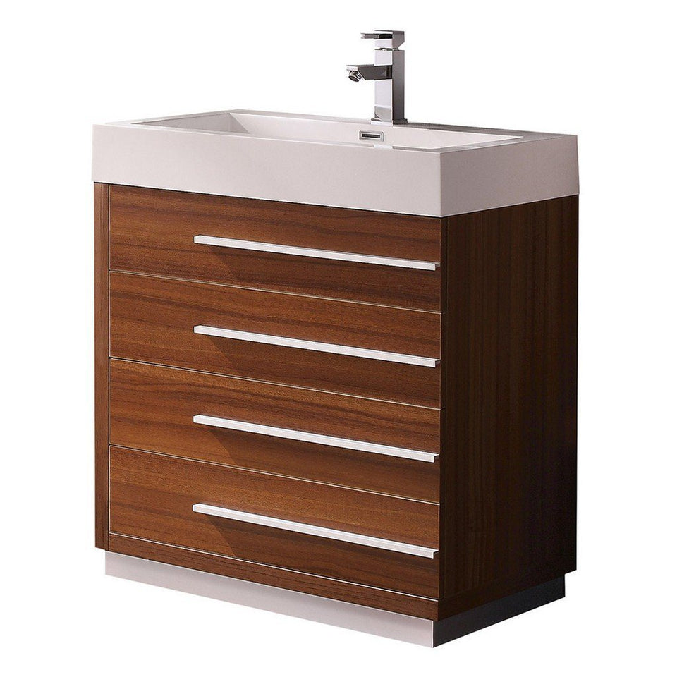 "Fresca Livello 30"" Modern Bathroom Cabinet with Integrated Sink Fresca 30 inch Single Vanity Teak"