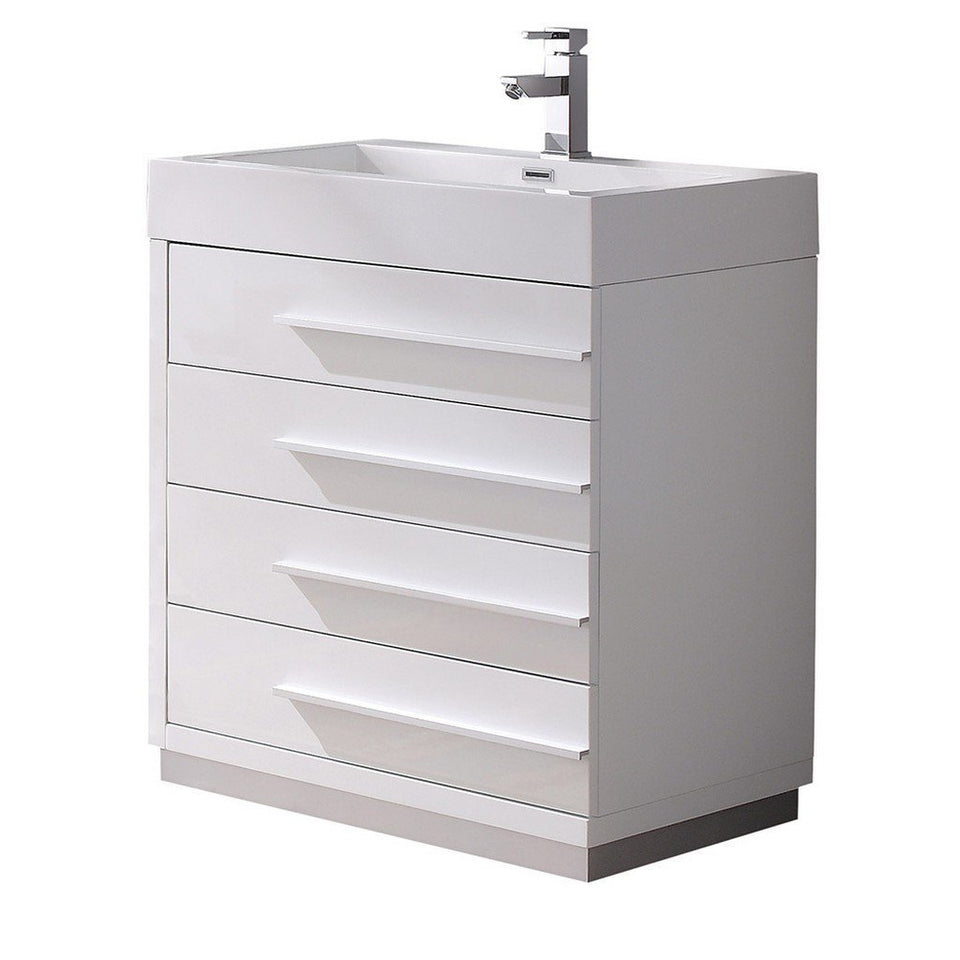 "Fresca Livello 30"" Modern Bathroom Cabinet with Integrated Sink Fresca 30 inch Single Vanity White"