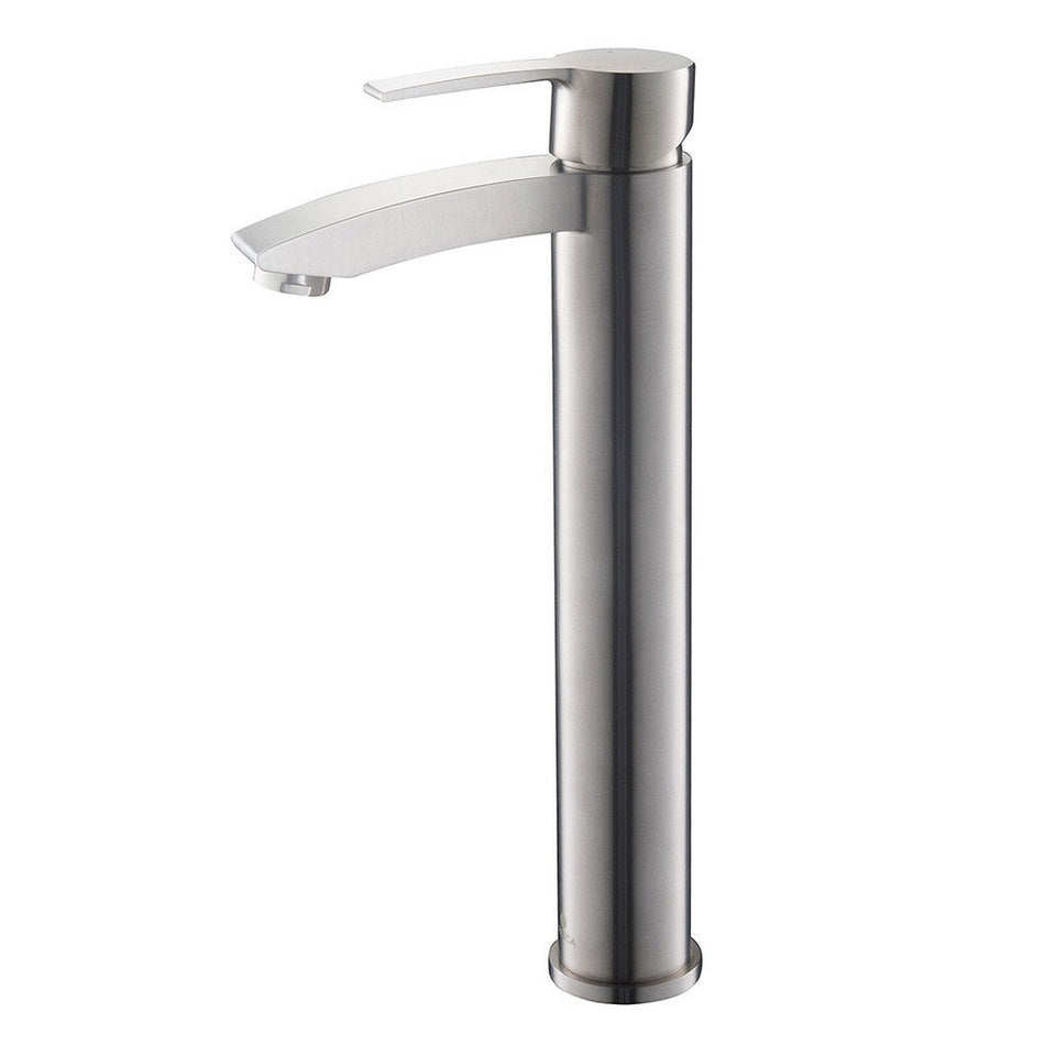 Fresca Livenza Single Hole Vessel Mount Bathroom Vanity Faucet Fresca Faucets Brushed Nickel