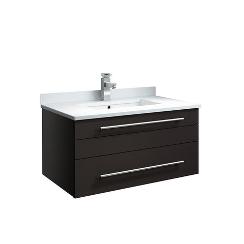 "Fresca Lucera 30"" Wall Hung Modern Bathroom Cabinet with Top & Undermount Sink Fresca 30 inch Single Vanity Espresso"