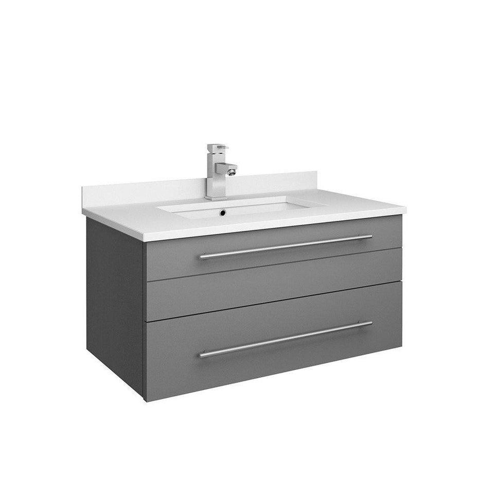 "Fresca Lucera 30"" Wall Hung Modern Bathroom Cabinet with Top & Undermount Sink Fresca 30 inch Single Vanity Gray"