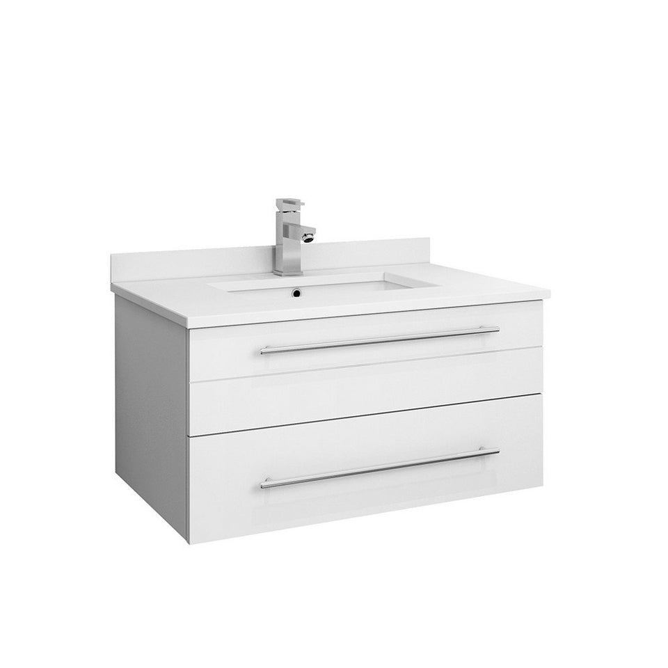 "Fresca Lucera 30"" Wall Hung Modern Bathroom Cabinet with Top & Undermount Sink Fresca 30 inch Single Vanity White"
