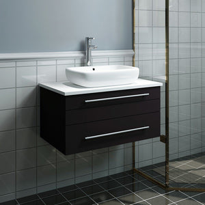 "Fresca Lucera 30"" Wall Hung Modern Bathroom Cabinet with Top & Vessel Sink Fresca 30 inch Single Vanity"