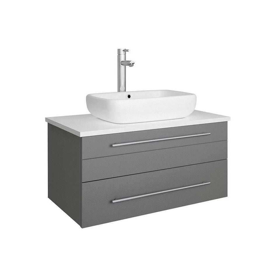 "Fresca Lucera 30"" Wall Hung Modern Bathroom Cabinet with Top & Vessel Sink Fresca 30 inch Single Vanity Gray"