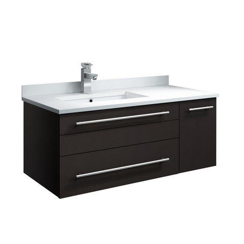 "Fresca Lucera 36"" Wall Hung Modern Bathroom Cabinet with Top & Undermount Sink - Left Version Fresca 36 inch Single Vanity Espresso"