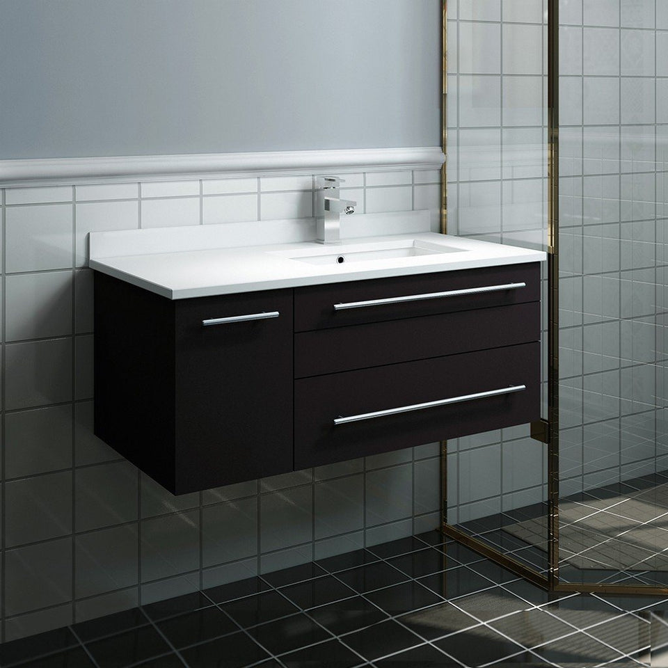 "Fresca Lucera 36"" Wall Hung Modern Bathroom Cabinet with Top & Undermount Sink - Right Version Fresca 36 inch Single Vanity"