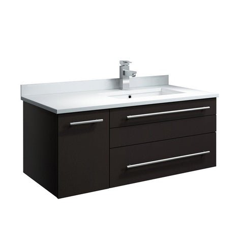 "Fresca Lucera 36"" Wall Hung Modern Bathroom Cabinet with Top & Undermount Sink - Right Version Fresca 36 inch Single Vanity Espresso"