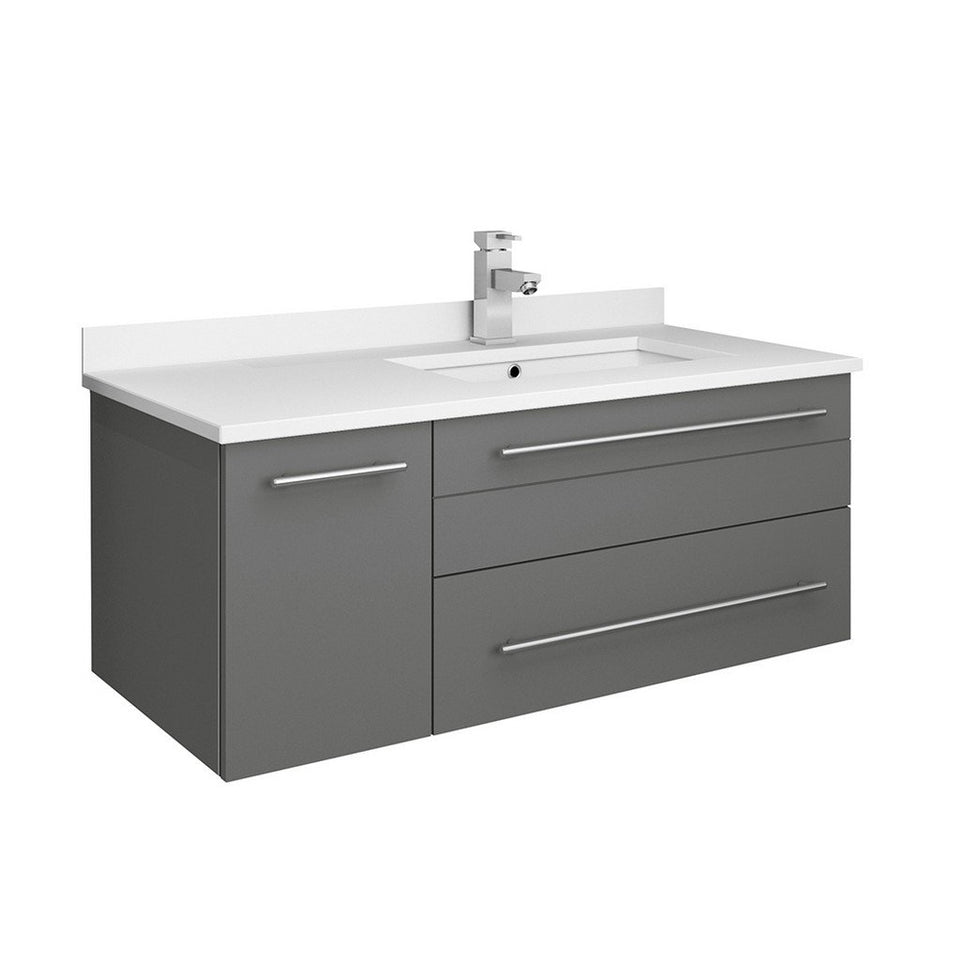 "Fresca Lucera 36"" Wall Hung Modern Bathroom Cabinet with Top & Undermount Sink - Right Version Fresca 36 inch Single Vanity Gray"