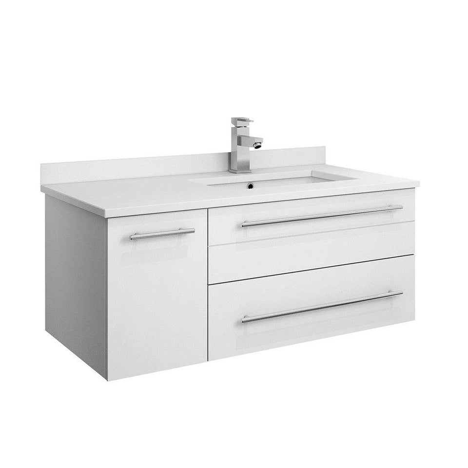 "Fresca Lucera 36"" Wall Hung Modern Bathroom Cabinet with Top & Undermount Sink - Right Version Fresca 36 inch Single Vanity White"