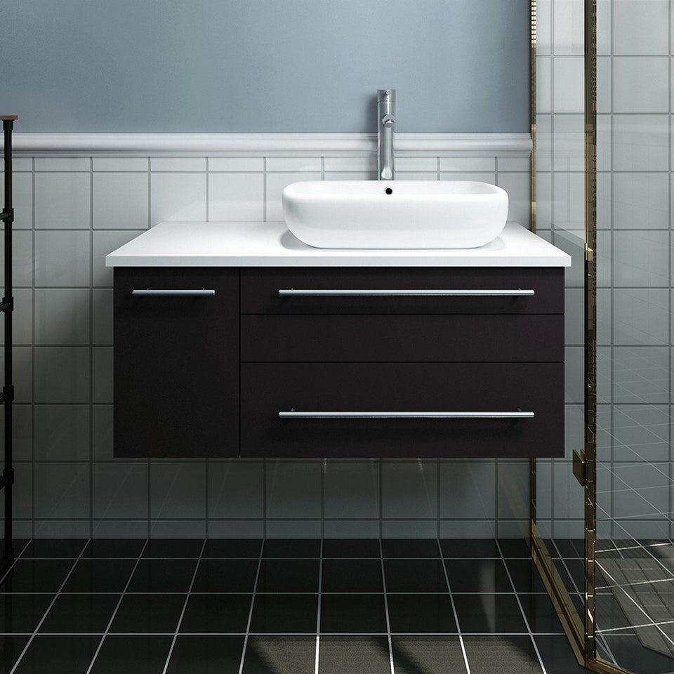 "Fresca Lucera 36"" Wall Hung Modern Bathroom Cabinet with Top & Vessel Sink - Right Version Fresca 36 inch Single Vanity"