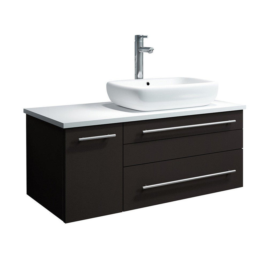 "Fresca Lucera 36"" Wall Hung Modern Bathroom Cabinet with Top & Vessel Sink - Right Version Fresca 36 inch Single Vanity Espresso"