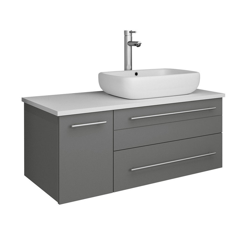 "Fresca Lucera 36"" Wall Hung Modern Bathroom Cabinet with Top & Vessel Sink - Right Version Fresca 36 inch Single Vanity Gray"