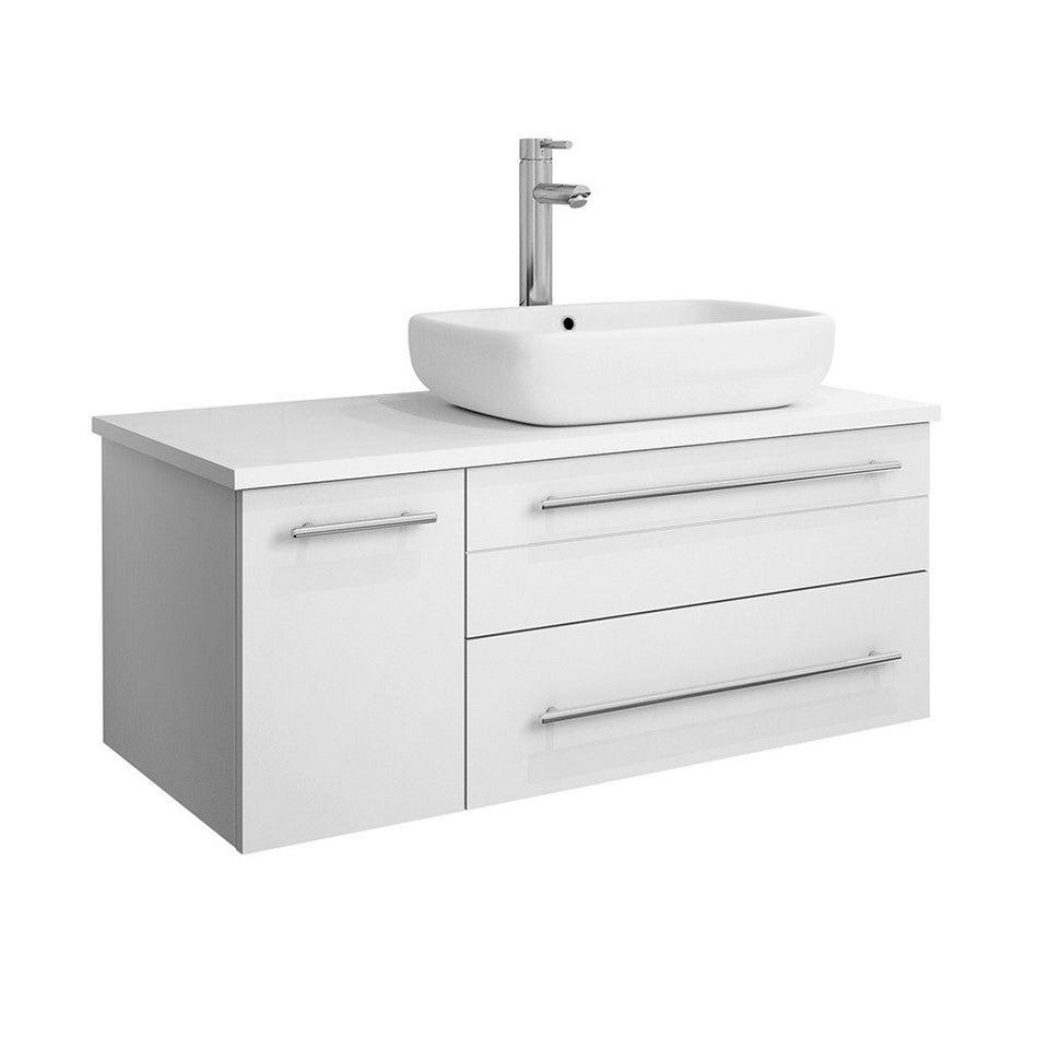 "Fresca Lucera 36"" Wall Hung Modern Bathroom Cabinet with Top & Vessel Sink - Right Version Fresca 36 inch Single Vanity White"
