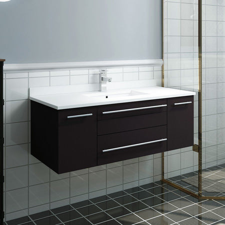 "Fresca Lucera 42"" Wall Hung Modern Bathroom Cabinet with Top & Undermount Sink Fresca 42 inch Single Vanity"