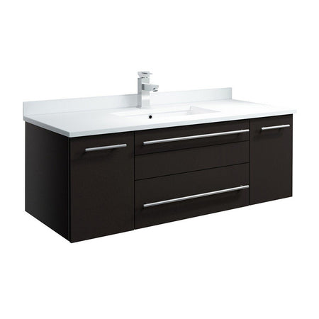"Fresca Lucera 42"" Wall Hung Modern Bathroom Cabinet with Top & Undermount Sink Fresca 42 inch Single Vanity Espresso"