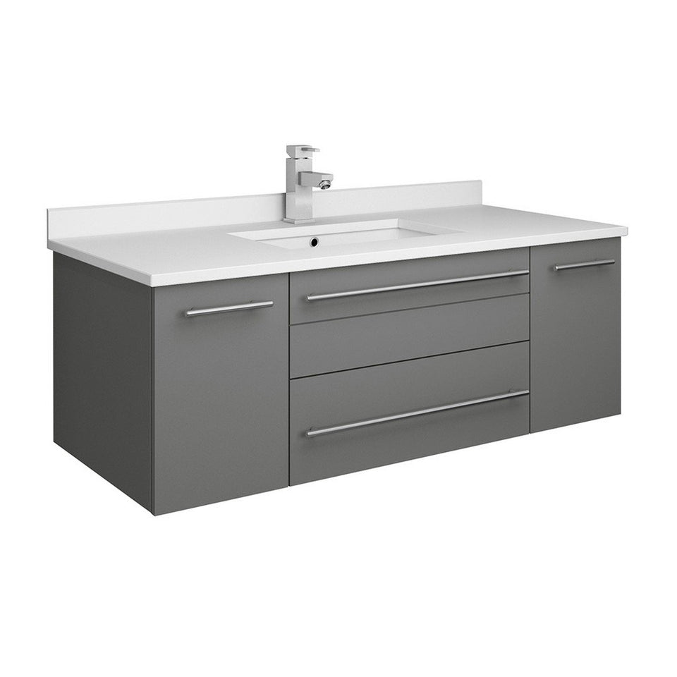 "Fresca Lucera 42"" Wall Hung Modern Bathroom Cabinet with Top & Undermount Sink Fresca 42 inch Single Vanity Gray"