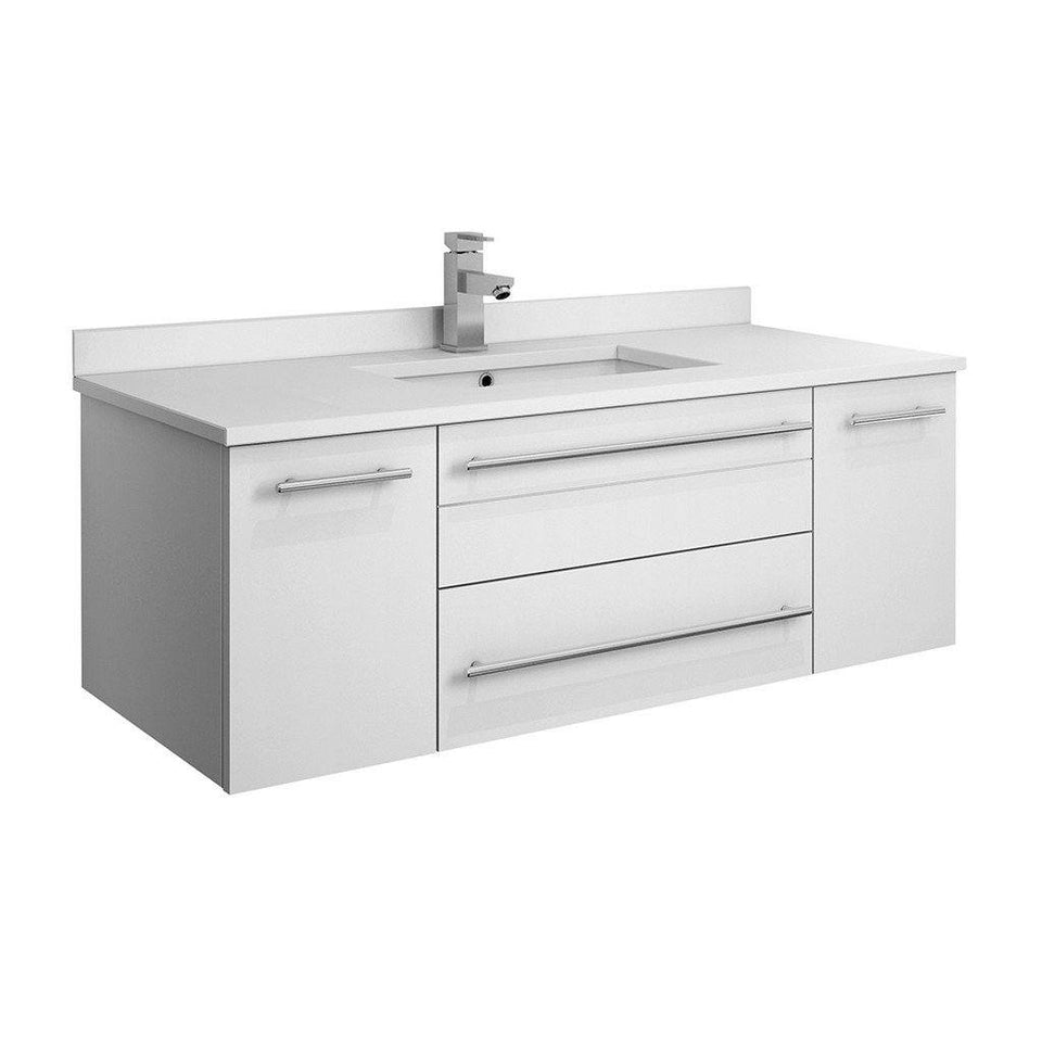 "Fresca Lucera 42"" Wall Hung Modern Bathroom Cabinet with Top & Undermount Sink Fresca 42 inch Single Vanity White"