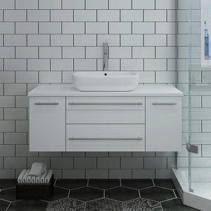 "Fresca Lucera 42"" Wall Hung Modern Bathroom Cabinet with Top & Vessel Sink Fresca 42 inch Single Vanity"