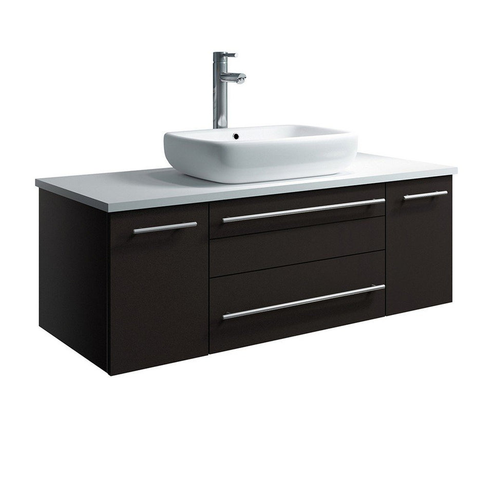 "Fresca Lucera 42"" Wall Hung Modern Bathroom Cabinet with Top & Vessel Sink Fresca 42 inch Single Vanity Espresso"