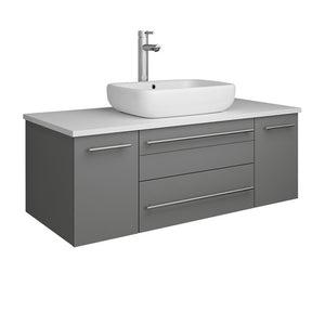 "Fresca Lucera 42"" Wall Hung Modern Bathroom Cabinet with Top & Vessel Sink Fresca 42 inch Single Vanity Gray"