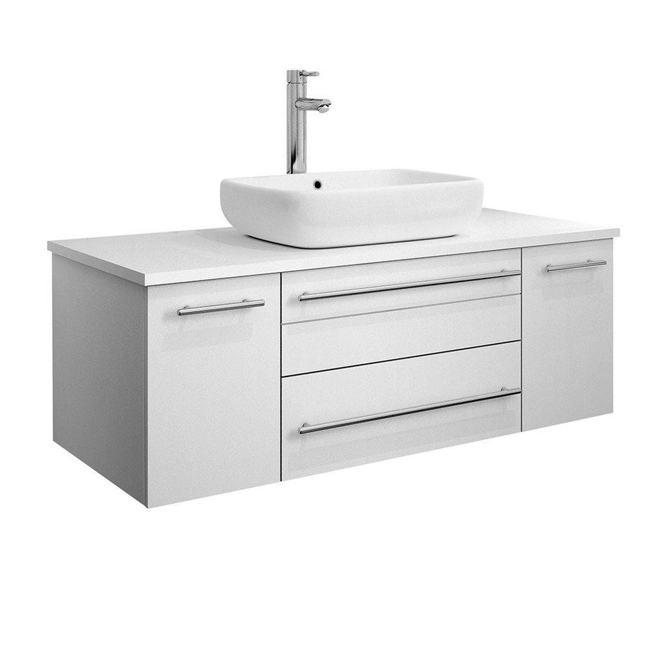 "Fresca Lucera 42"" Wall Hung Modern Bathroom Cabinet with Top & Vessel Sink Fresca 42 inch Single Vanity White"