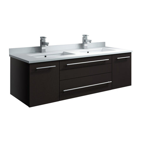 "Fresca Lucera 48"" Wall Hung Modern Bathroom Cabinet with Top & Double Undermount Sinks Fresca 48 inch Double Vanity Espresso"