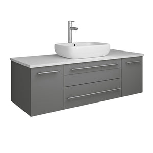 "Fresca Lucera 48"" Wall Hung Modern Bathroom Cabinet with Top & Vessel Sink Fresca 48 inch Single Vanity Gray"