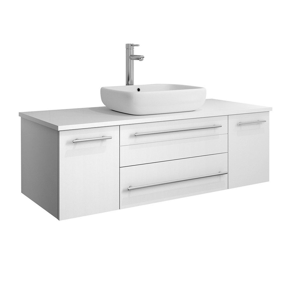 "Fresca Lucera 48"" Wall Hung Modern Bathroom Cabinet with Top & Vessel Sink Fresca 48 inch Single Vanity White"