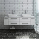 "Fresca Lucera 60"" Wall Hung Modern Bathroom Cabinet with Top & Double Vessel Sinks Fresca 60 inch Double Vanity"