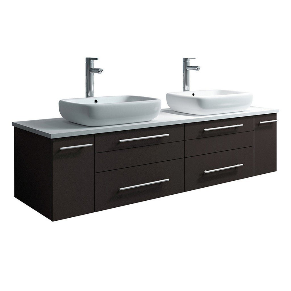 "Fresca Lucera 60"" Wall Hung Modern Bathroom Cabinet with Top & Double Vessel Sinks Fresca 60 inch Double Vanity Espresso"