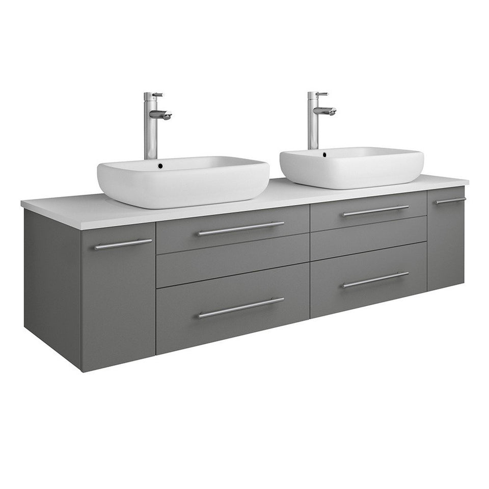 "Fresca Lucera 60"" Wall Hung Modern Bathroom Cabinet with Top & Double Vessel Sinks Fresca 60 inch Double Vanity Gray"