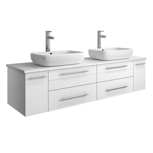 "Fresca Lucera 60"" Wall Hung Modern Bathroom Cabinet with Top & Double Vessel Sinks Fresca 60 inch Double Vanity White"