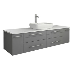 "Fresca Lucera 60"" Wall Hung Modern Bathroom Cabinet with Top & Single Vessel Sink Fresca 60 inch Single Vanity Gray"