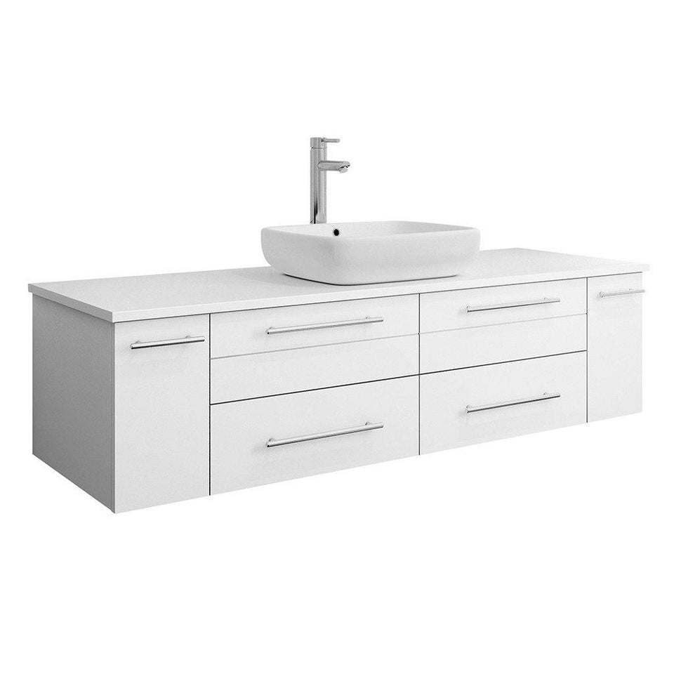 "Fresca Lucera 60"" Wall Hung Modern Bathroom Cabinet with Top & Single Vessel Sink Fresca 60 inch Single Vanity White"