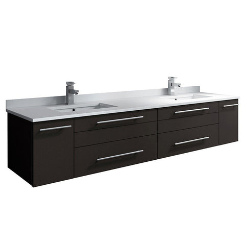 "Fresca Lucera 72"" Wall Hung Modern Bathroom Cabinet with Top & Double Undermount Sinks Fresca 72 inch and larger Double Vanity Espresso"