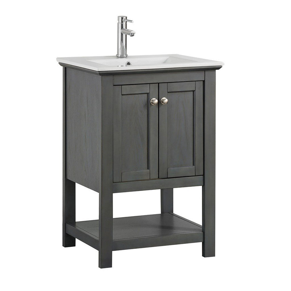 "Fresca Manchester 24"" Traditional Bathroom Vanity Fresca 24 inch Single Vanity Gray Wood Veneer"